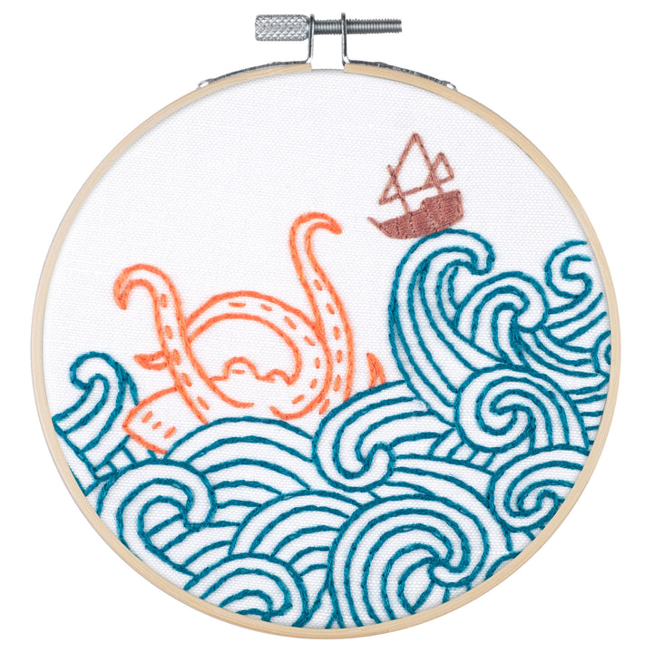 kraken octopus boat embroidery kit