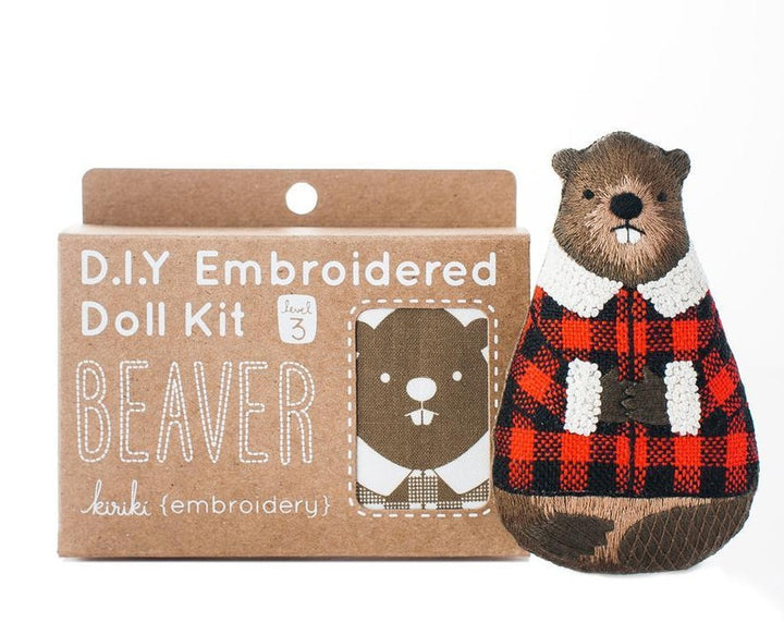 kiriki press embroidered stuffed animal beaver