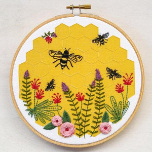 honeybee insect embroidery kit cozyblue