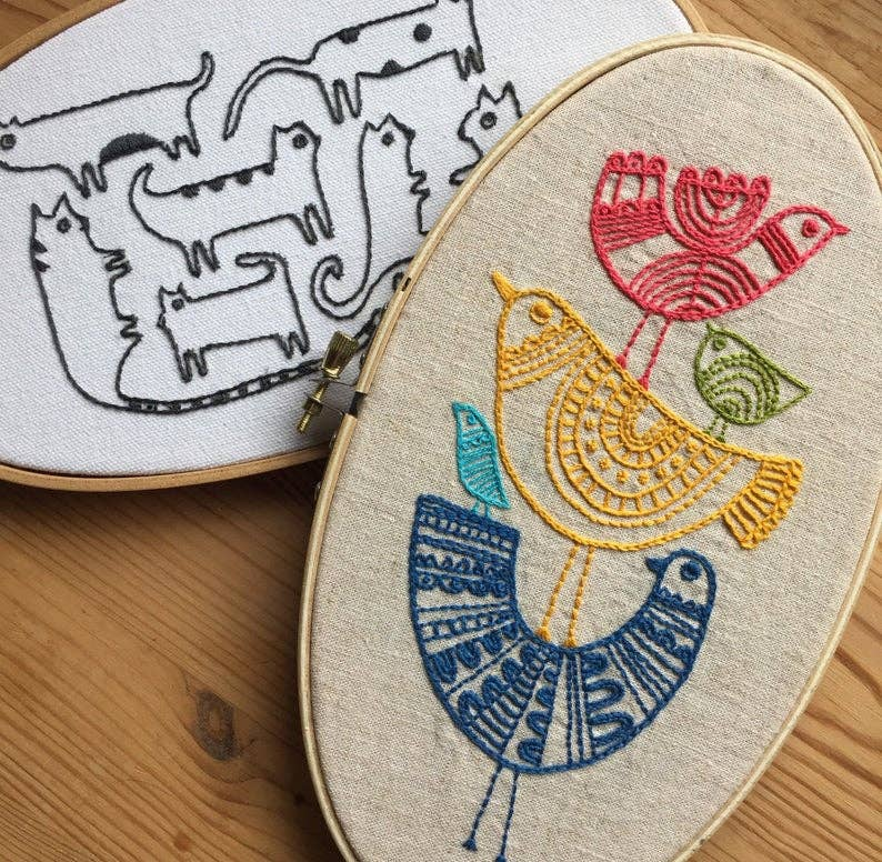 embroidery sampler kit with birds