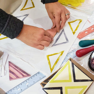 block printing on paper craft class