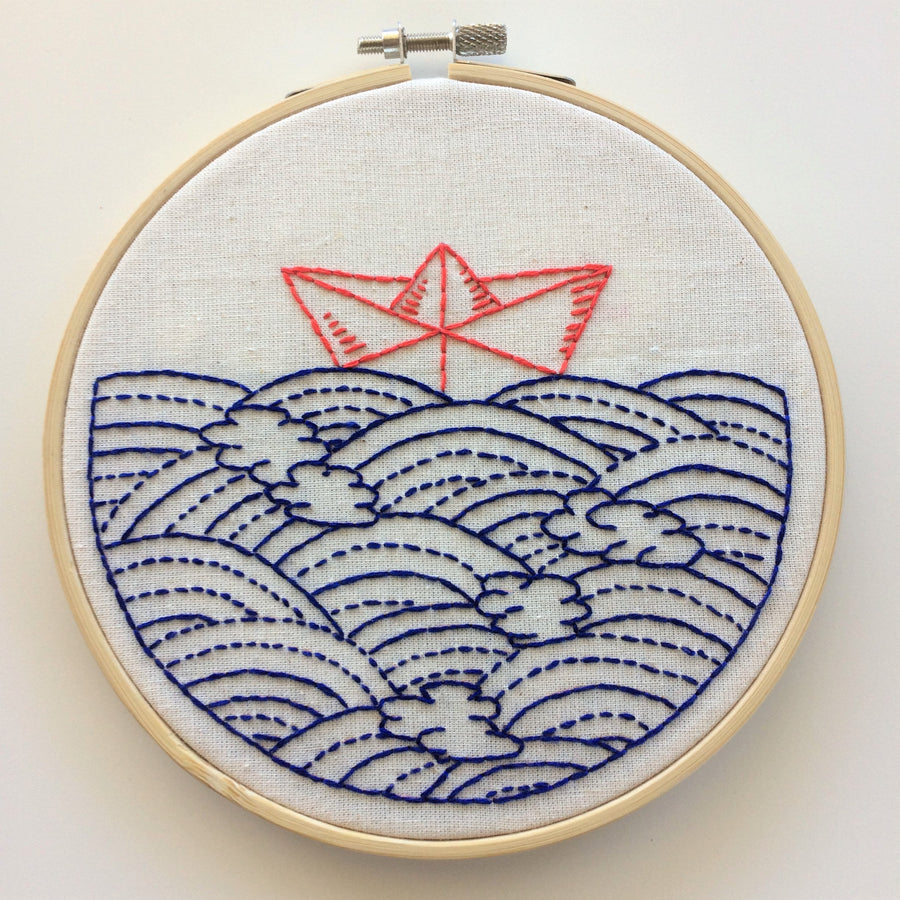 sail boat embroidery kit