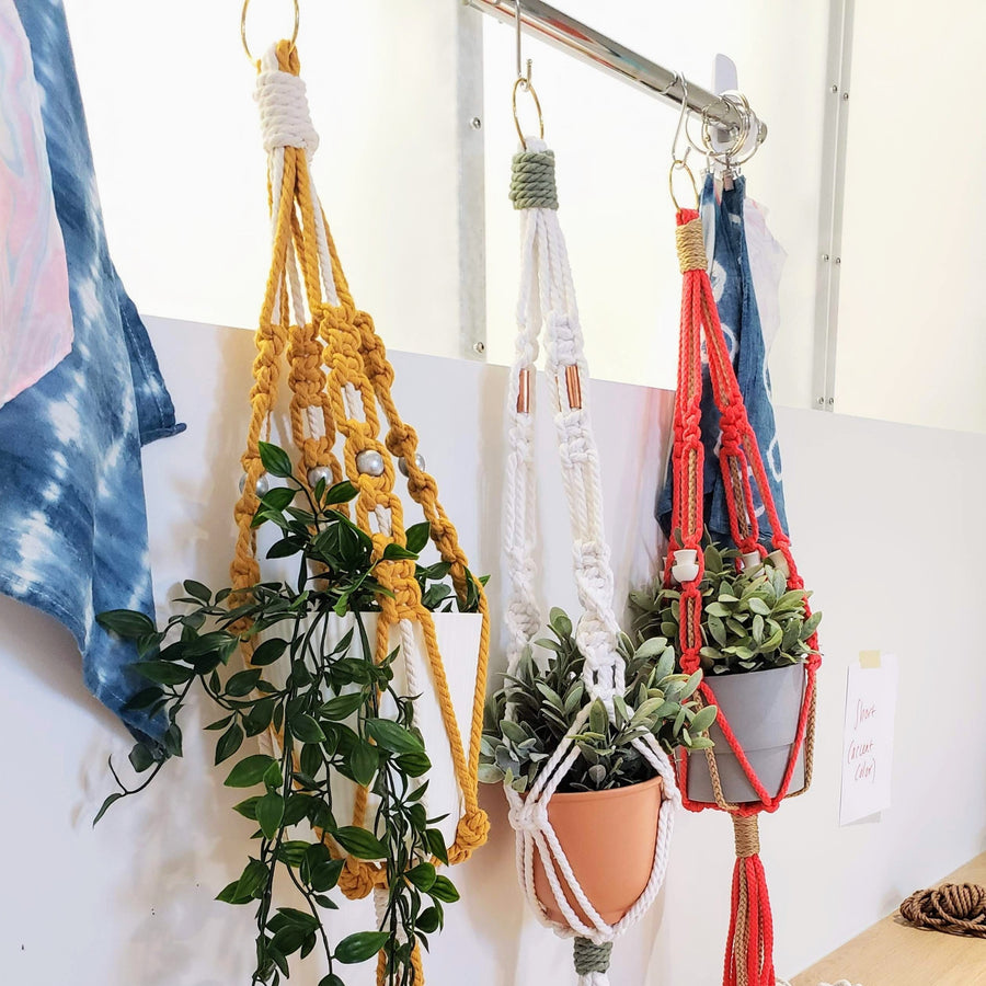 gold ring macrame plant hanger top
