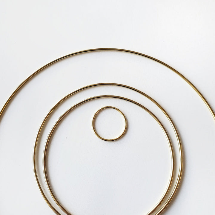 brass gold macrame hoop ring