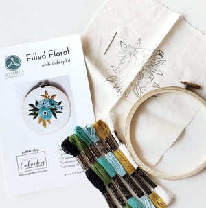 Filled Floral Embroidery Kit