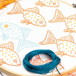 Happy Misfit Goldfish Embroidery Kit