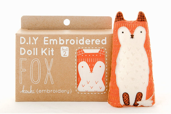 fox embroidery kit plush stuffed animal