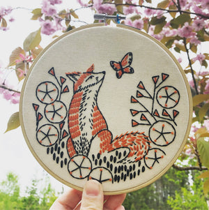 fox in flowers embroidery kit