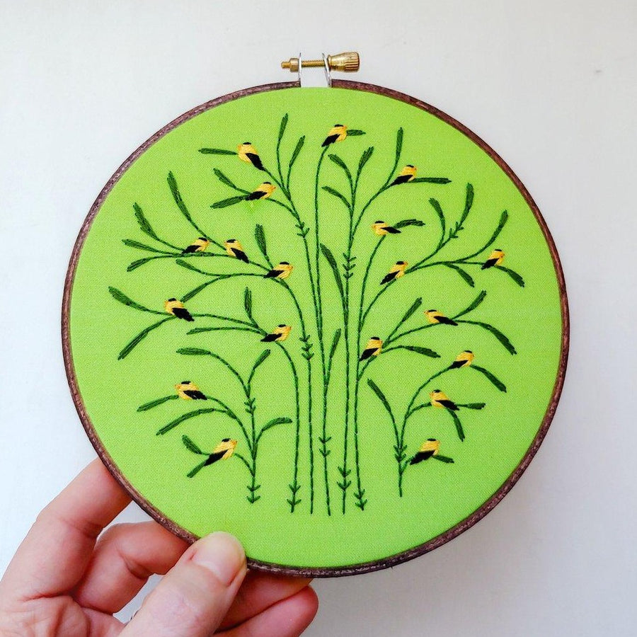 goldfinch bird green embroidery kit