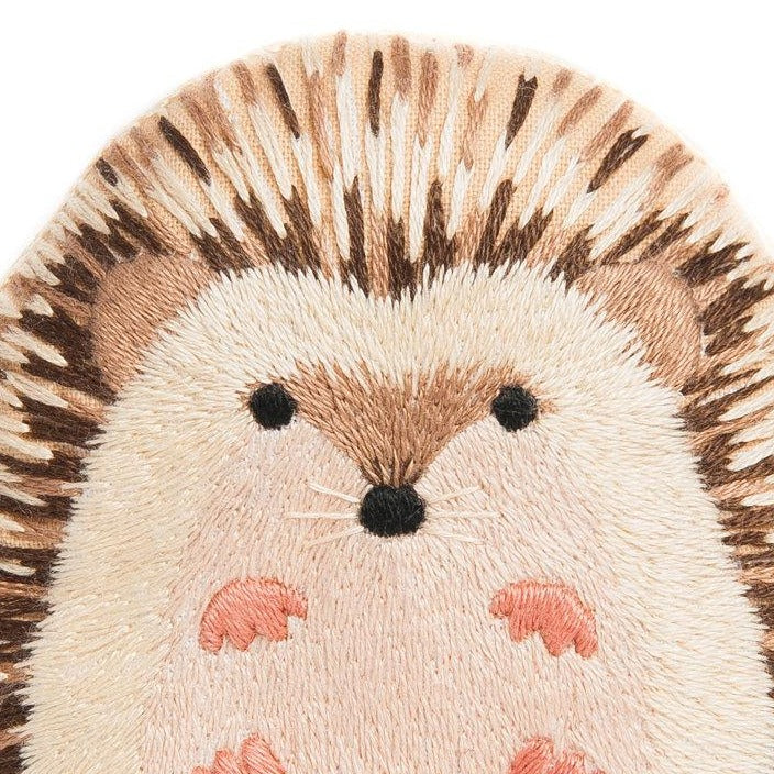 closeup embroidery kit hedgehog