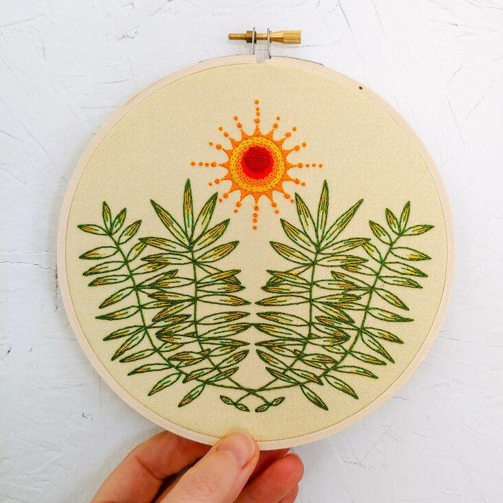 plant and sun embroidery kit