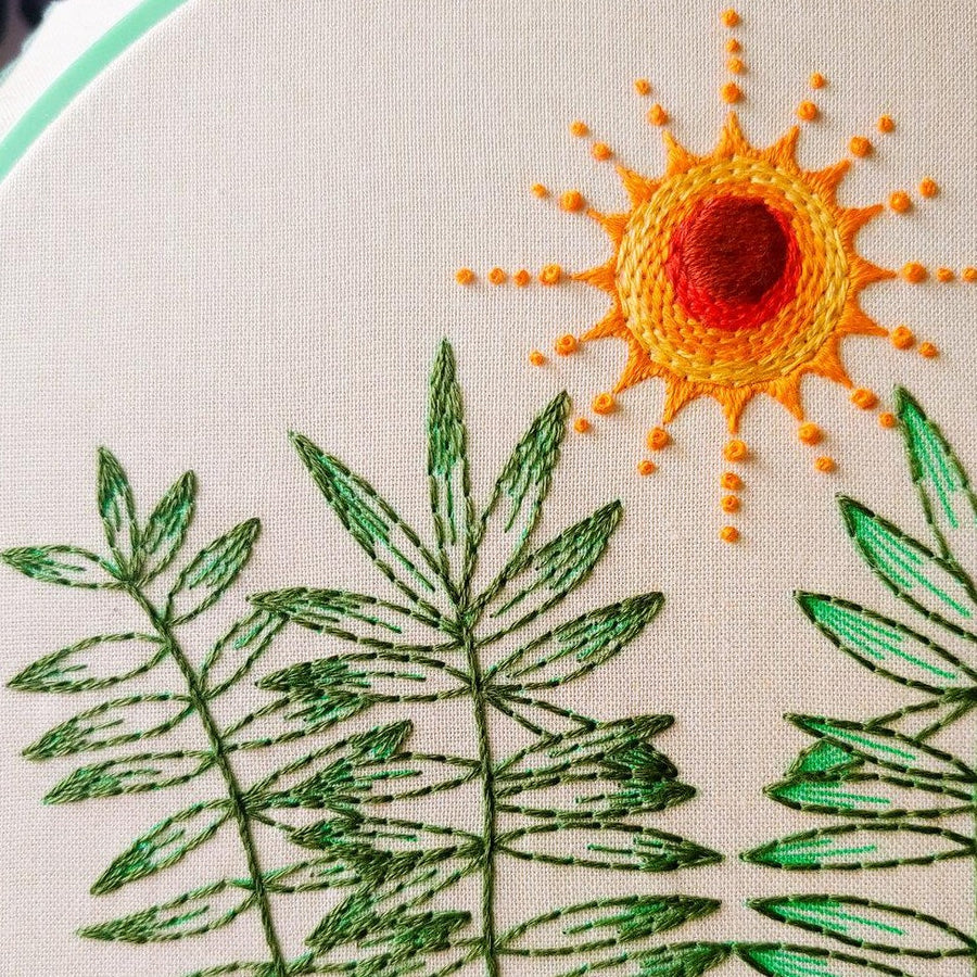 summer theme embroidery pattern diy kit