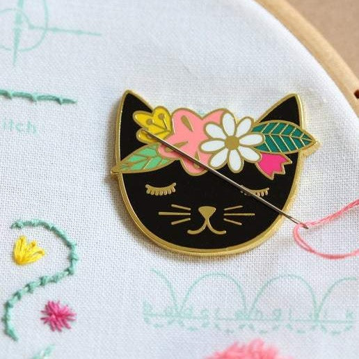 black cat needleminder embroidery