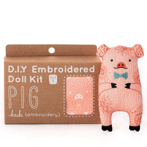 pig animal diy embroidered doll kit kiriki