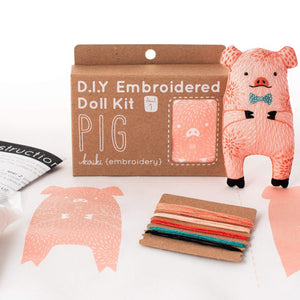 Pig Embroidered Plushie Kit