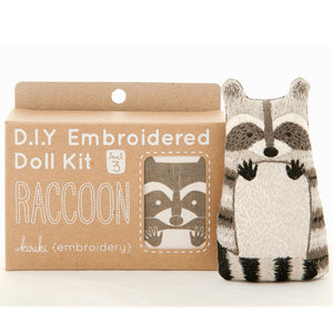diy embroidered doll kit raccoon