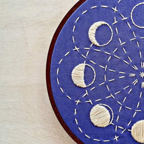 lunar moon phases embroidery kit