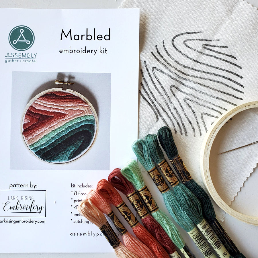 fill stitch marble embroidery kit