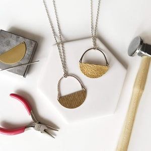 silver and brass jewelry making class
