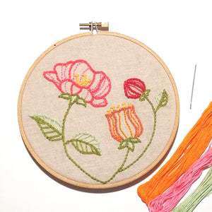 modern floral embroidery kit