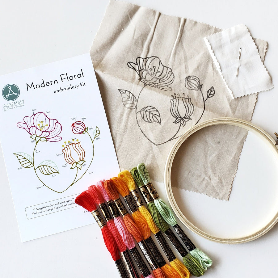 modern floral embroidery kit class