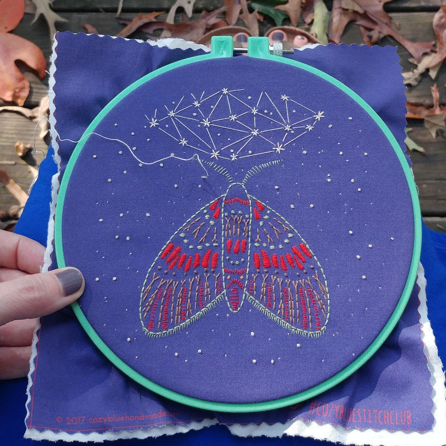 moth midnight flight embroidery kit