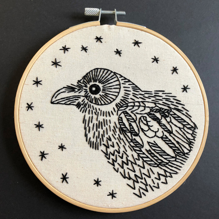 raven bird embroidery kit