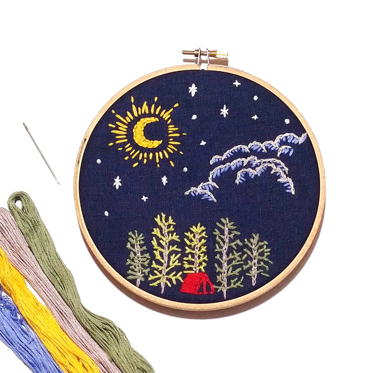 camping night sky embroidery kit
