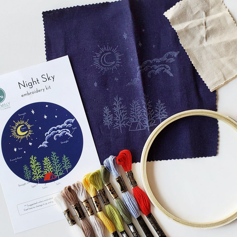 night sky camping embroidery kit class