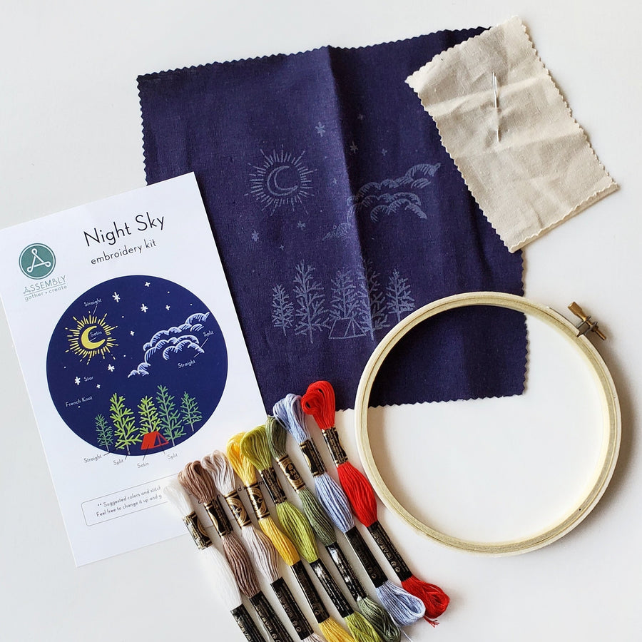 night sky camping embroidery kit