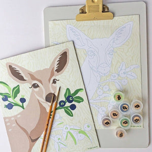 paint by number kit deer berries supplies