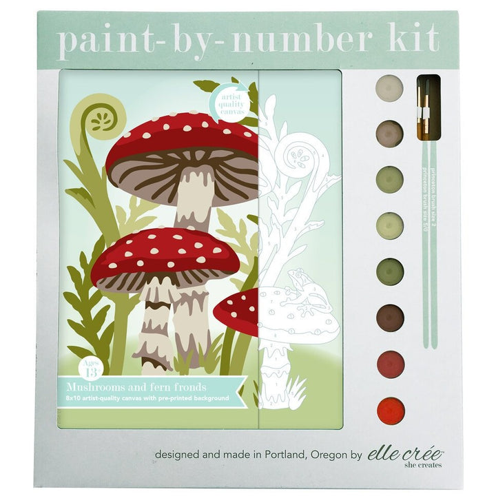 paint by number kit mushrooms ferns supplies