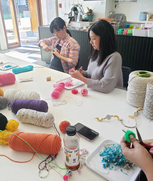 yarn crafts fiber art workshop pom pom tassel making