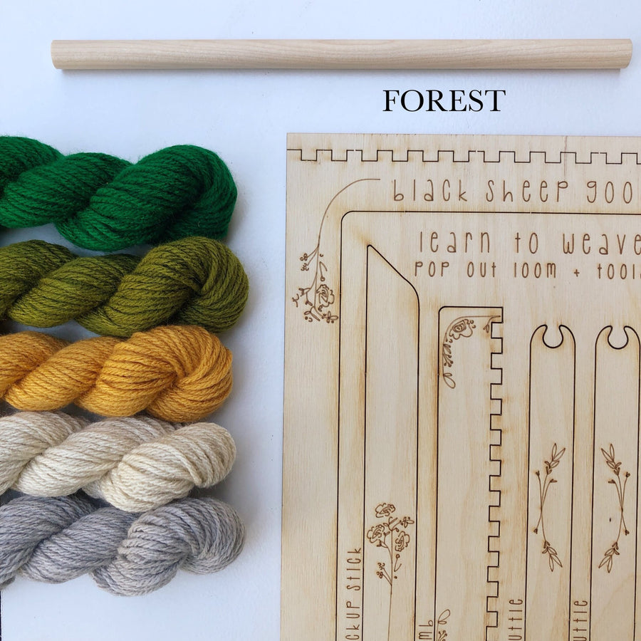 forest greens tapestry weaving loom kit