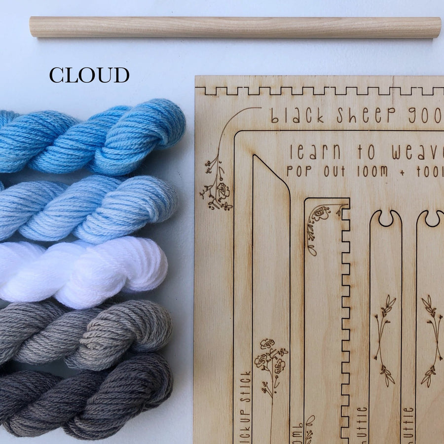 blues cloud yarn weaving loom kit