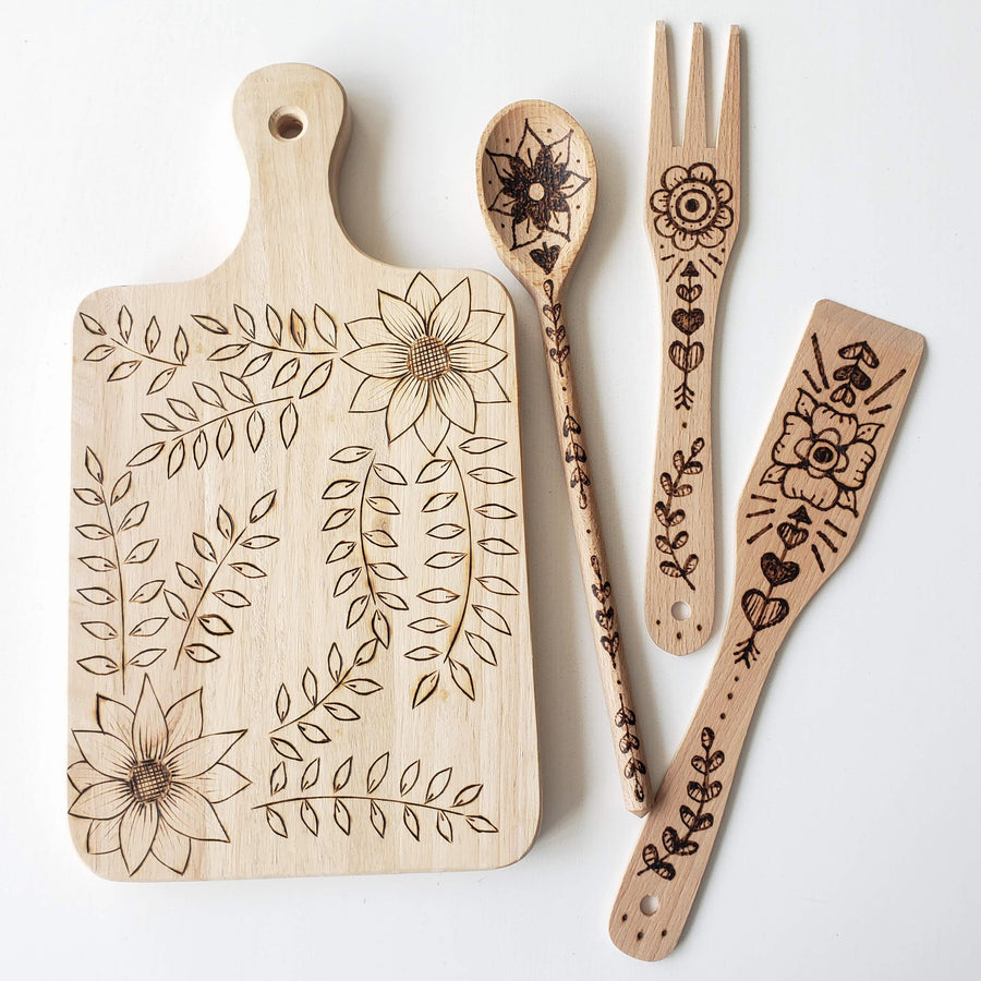 wood burning kitchen spoon kit