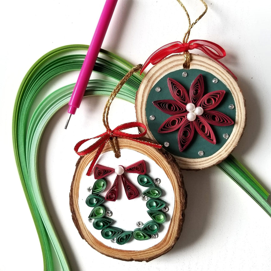paper quilling wood slice holiday ornament diy