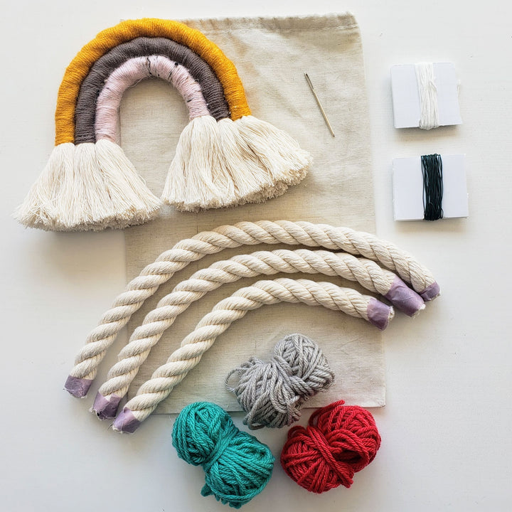 rainbow wrapped fiber art kit