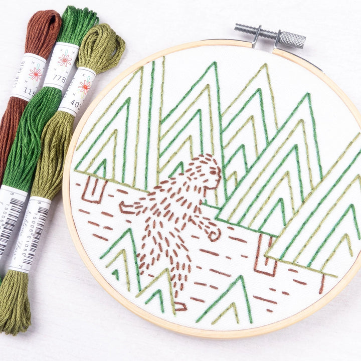 sasquatch bigfoot embroidery diy kit