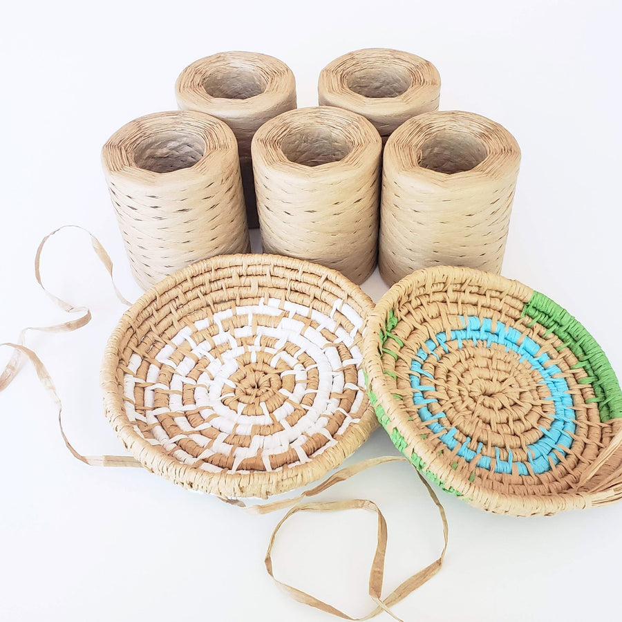 Tan - Raffia Paper Ribbon for Basket Making