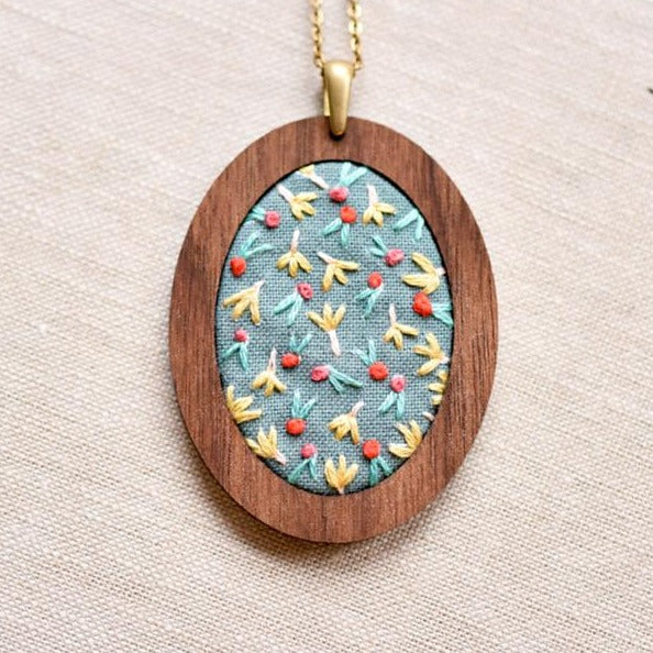 tulip flowers embroidered pendant necklace