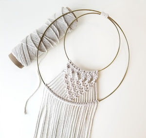 macrame gold hoop ring wall hanging