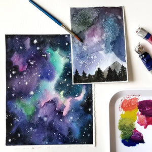 watercolor painting class night sky