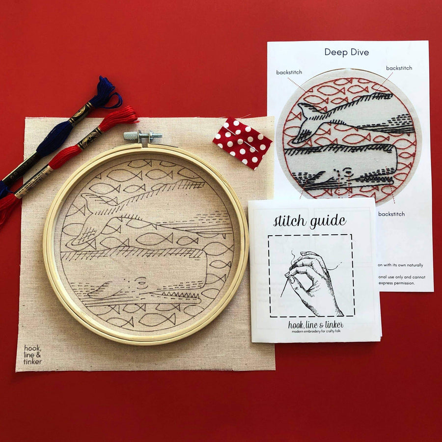 whale embroidery kit