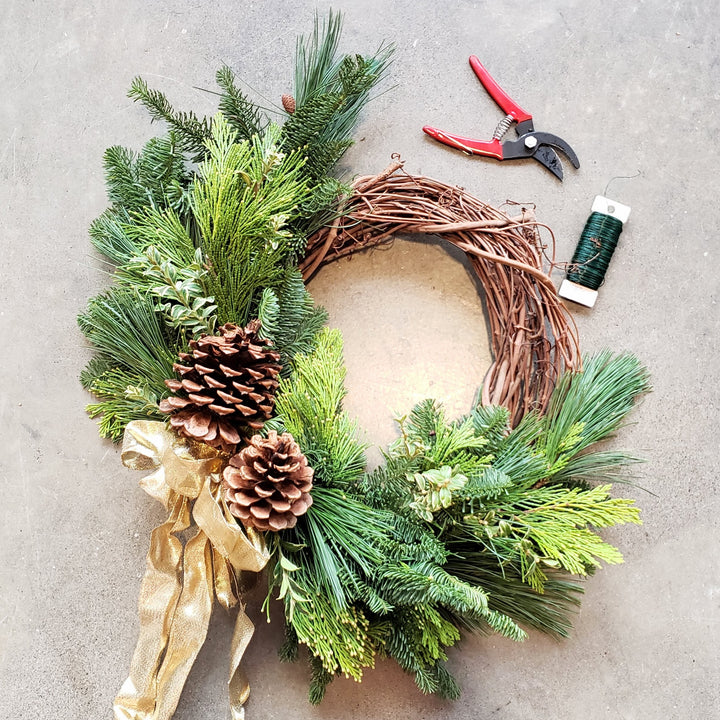 online wreath making class with kit