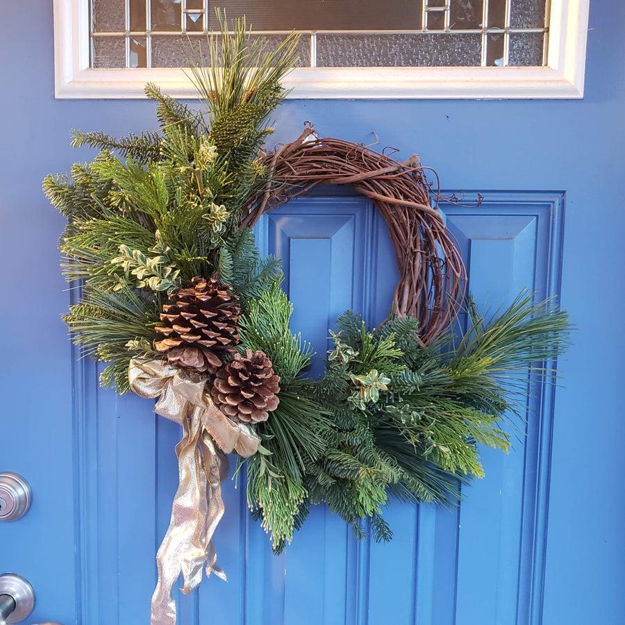 diy fresh cut wreath making class portland