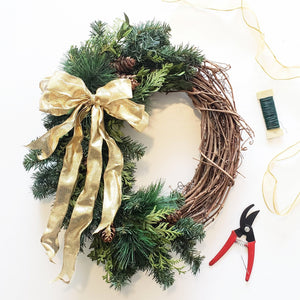 online winter grapevine wreath making class supply kit