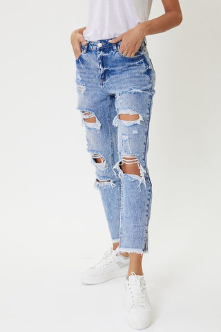 High Rise Acid Wash Boyfriend Jeans