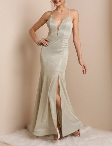 MERMAID DRESS WITH CRISSCROSS BACK DETAIL AND SIDE SLIT