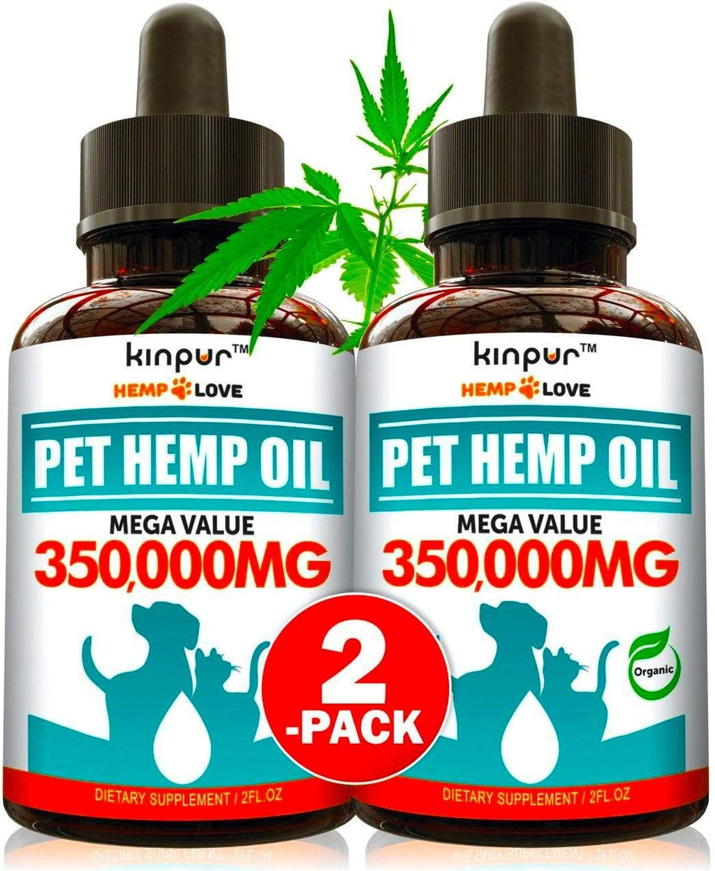 Kinpur Hemp Oil for Dogs & Cats (2 Pack) Kinpur